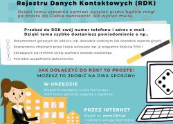 Ministerstwo Cyfryzacji, w ramach projektu Rozwój Systemu Rejestrów Państwowych (RSRP), uruchomiło Rejestr Danych Kontaktowych (RDK)